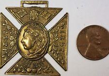 1837-1897 Queen Elizabeth 60th Jubilee Commemorative Malta Cross Brass Medal