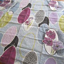 50cm x 96cm Grey Purple Atomic Curtain Sew Craft Vintage Cotton Fabric 1950s