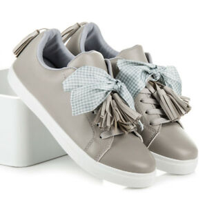 Womens Ladies Lace Up Trainers Satin Bow Tassels Sneakers School Shoes Zelarino