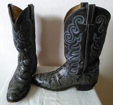 Vtg. Tony Lama snake skin vamp, Gray (greenish) cowboy/western boots Size 10 B