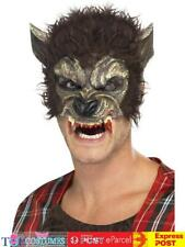 Werewolf Half Face Mask, Brown, with Fur and Teeth. Smiffys. is