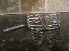 Viva La Vince Camuto~Silver Tone~Multi Bar Lined V Cutout~Hinge Bracelet~$68