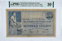 NETHERLANDS 39d 1928 100 GULDEN PMG 30 EPQ * RARE * HIGHEST GRADED EPQ VAGOLD