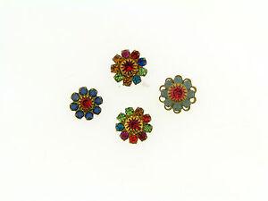Vintage Multi Color Crystal Fancy Flower Burst Prong Set Brass Layer Findings