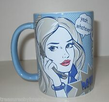 GIRL POWER Attitude Coffee Mug Yeah Whatever Cup La Senza Blue Comic Book Style