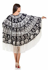 Womens Poncho Elephant Mandala Round Cotton Jacket Lady Beach Wear Dress Indian
