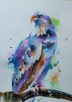 White eagle original watercolor painting Colorful modern art Birds wall art