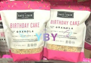 2 Packs Safe + Fair Food Birthday Cake Granola 24 oz Each Pack