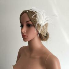 White Feather Headpiece Fascinator Hair Clip Wedding Bridal Hair Accessory