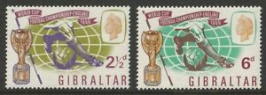 Gibraltar: 1966. SG188/9, 2 1/2d to 6d Football World Cup. MNH. As photo.