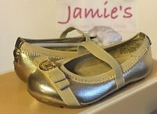 MICHAEL KORS Rover Lux Strap BALLET STRAP FLATS MOC SANDALS Baby Girl Gold BOW