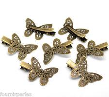 30 Pinces à Cheveux Papillon Filigrane Couleur Bronze 4x2.7cm