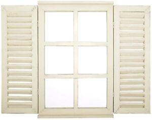 Esschert Spiegel Holz Wandspiegel Spiegelfenster Klappläden Fenster Landhaus