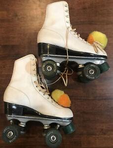 Vintage Roller Derby Skates Size 4 5 White Retro Green Wheels Pom Poms Orange
