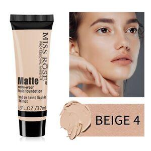 Miss Rose Matte Face Liquid Foundation Cream Concealer Primer Waterproof Makeup