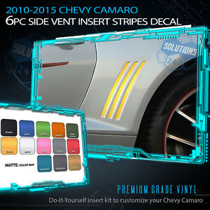 For 2010-2015 Chevy Camaro x6 Gill Side Vent Insert Stripes Decal Flat Matte