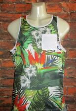 MENS ON THE BYAS FLORAL TROPICAL POCKET TANK TOP T-SHIRT SIZE S
