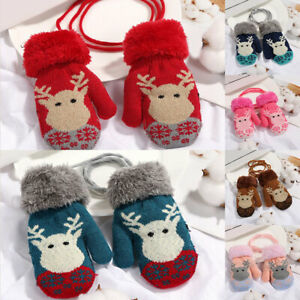 Christmas Elk Baby Kids Gloves Children Knitted Thicken Warm Full Finger Mittens