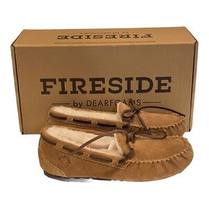 Dearforms Fireside Victoria Moccasin Slipper Womens Size 6 Suede Shearling New