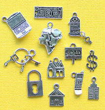 Realtor Charm Collection 12 Tibetan Silver Tone Charms FREE Shipping E100