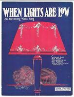 Vintage Sheet Music WHEN LIGHTS ARE LOW 1923 Kahn, Koehler, Fiorito