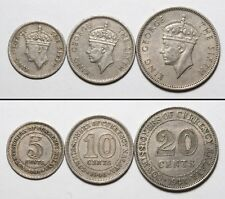 NC0163 Malasia 1948, 5 10 20 cents - Malaya 3 coins set