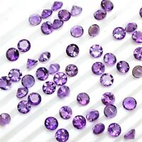 Wholesale Lot 4mm Round Facet Natural African Amethyst Loose Calibrated Gemstone