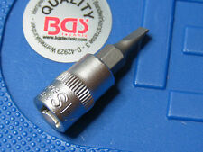 "BGS TOOLS  4MM SLOTTED SCREWDRIVER BIT  IN  SOCKET 1/4"" DRIVE CHROME VANADIUM"