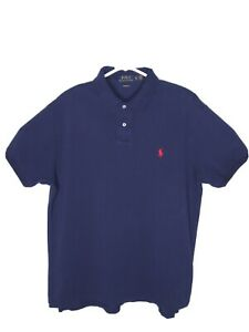 Polo Ralph Lauren Custom Fit Short Sleeve Polo Shirt Navy Blue Mens Size XL