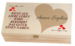 Erinnerungskiste Holzbox Baby Namen Geschenke Geburt Taufe Junge Mädchen Herz