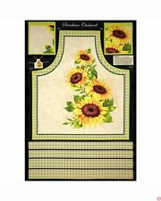 "Sunshine Orchard Sunflower Apron 100% cotton 43"" wide Fabric by the panel 35"""