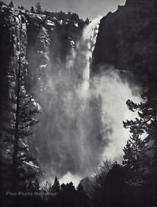 1959 Vintage ANSEL ADAMS Bridalveil Waterfall Yosemite Landscape Photo Art 12X16