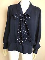 Women's Vintage 1980's Chaus Navy Blue w/ Polka Dot Neck Tie Blouse, Size M/L