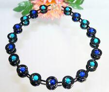 Kette HINREIßEND PERLMUTT schwarzer Donut Perlen blautöne dunkelblau türkis 353h