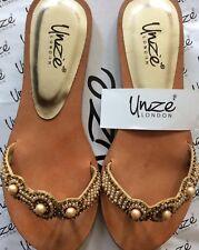 London Unze Ladies Slippers, Golden Brown, size 3