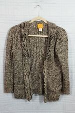 Ruby Rd women's Large Black Silver long sleeve button up Cardigan Sweater