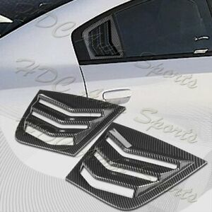 For 2011-2021 Dodge Charger Carbon Look Side Window Louvers Scoop Cover Vent 2pc