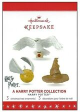 2016 Hallmark Harry Potter Collecton Hedwig Hat Snitch 3 Miniature Ornament Set