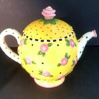 Mary Engelbreit Yellow Pink Roses & Polka Dots Teapot MK Ink Michel & Co 1997