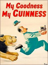 Guinness Beer Lion Chasing Man Ireland Great Britain Vintage Travel Art Poster