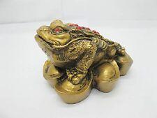4X Brass Plated Feng Shui Money Frog On Yuan Bao