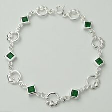 Claddagh Bracelet - 925 Sterling Silver - Irish Celtic Love Loyalty Friendship