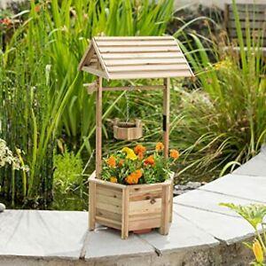 Garden Wooden Planter Wishing Well Bucket Patio Fern Flower Plant Pot