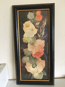 """Vintage/retro Style Floral Picture In A Black/gold Frame 15 X 8"""""""