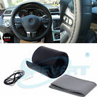 DIY Car Truck Leather Steering Wheel Cover with Needles and Thread Black & Grey