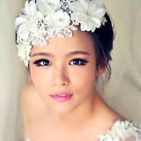 Women White Wedding Pearl Bride Bridal Crystal Flower Party Hair Headband Prop