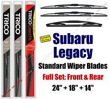 Wiper Blades 3pk Front Rear Standard - fit 2005-2009 Subaru Legacy 30240/180/14B