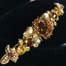 Vintage Miriam Haskell Bar Brooch Pin~Amber/Topaz Crystal RS/Pearl/Gilt Filigree