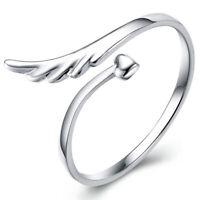 jer de plata de ley en forma de corazon amor Anillo ajustable alas de angel E8H2