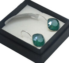 Silver Plated Earrings SHEENA *Royal Green* 12mm Crystals from Swarovski®